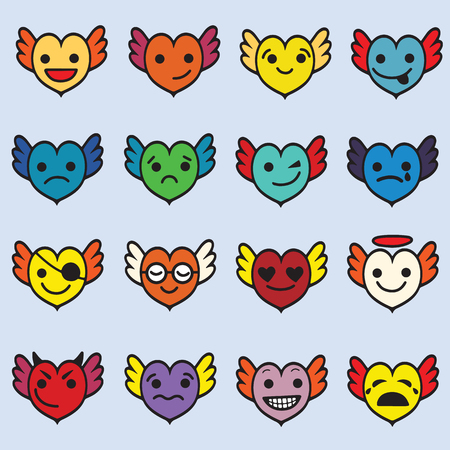 Cute emoji heart faces with wings clip art set, Hearts with wings ,faces with different emotions
