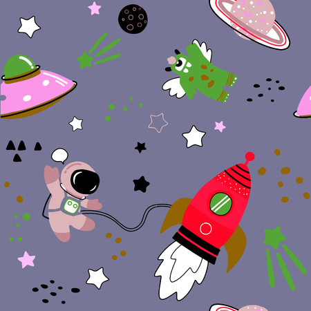 Childish seamless pattern with hand drawn space elements space, rocket, star, planet, space probe. Trendy kids vector background. Foto de archivo - 98030466
