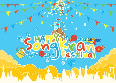 Songkran Festival in Thailand Vector, Thai traditional, Thai Water Splash with Landmark in Thailand , Thailand Traditional New Year's Day