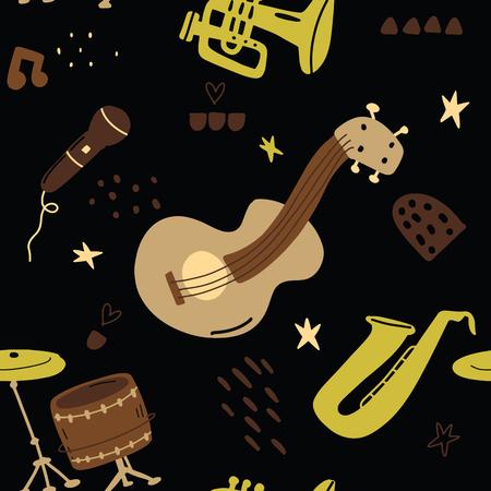 손으로 유치 한 완벽 한 패턴 스 칸디 나 비아 스타일에서 음악을 그려. 직물, 섬유, 벡터 일러스트 레이 션 크리 에이 티브 벡터 유치 배경.