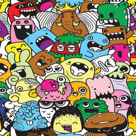 Funny monsters seamless pattern 向量圖像