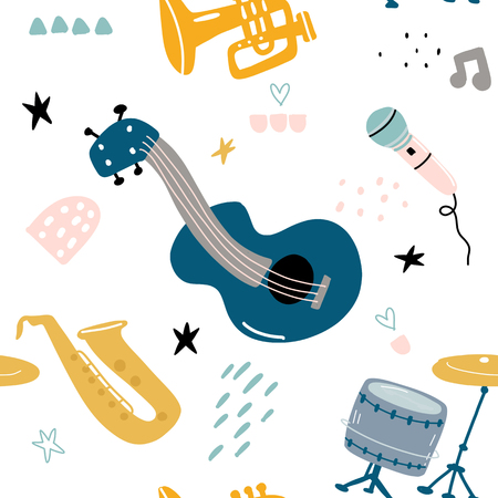 Childrens seamless pattern with hand drawn music instruments Stock Illustratie