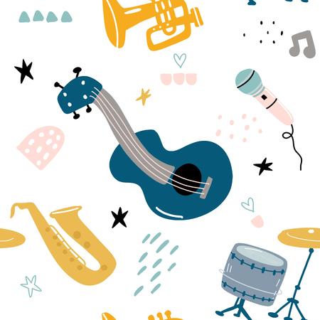 Children's seamless pattern with hand drawn music instruments