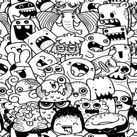 Funny monsters seamless pattern Çizim