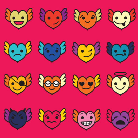 Cute hearts with faces and wings vector illustration set
