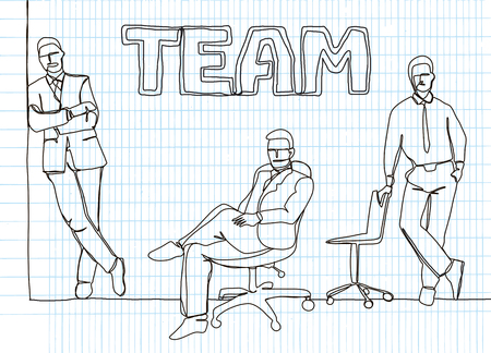 Business team - continuous line drawing illustration. Çizim
