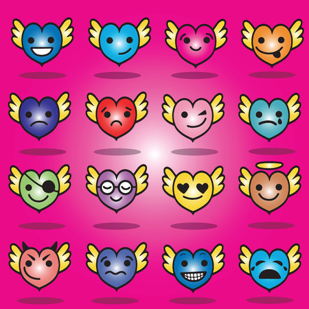 Cute emoji heart faces with wings clip art set. Hearts with wings, faces with different emotions. Ilustrace