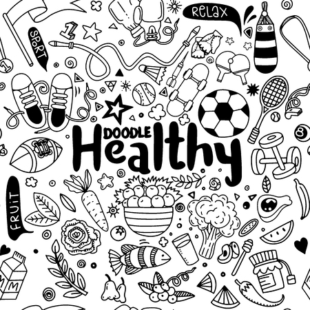 Healthy lifestyle concept, Hand drawn vector illustration set of fitness and sport sign and food doodles elements.