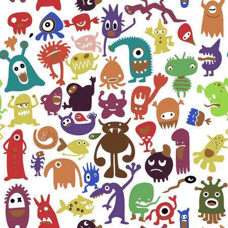 A hand drawn black monster silhouettes. Bacteria and beast, alien and devil, ghosts and demon vector illustration.