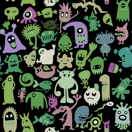 A hand drawn black monster silhouettes seamless pattern