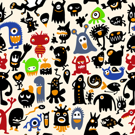 A hand drawn black monster silhouettes seamless pattern.