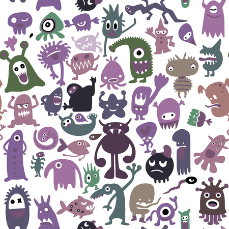 hand drawn black monster silhouettes. Bacteria and beast, alien and devil, ghosts and demon vector illustration. Monsters of set for halloween, scary bizarre character monster, seamless pattern Çizim