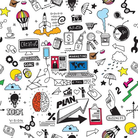 Geschäft kritzelt Skizzensatz, die lokalisierten infographics Elemente, Vektorformen. Es enthält viele Symbole, darunter Grafiken, Statistiken, Geräte, Laptops, Wolken, Konzepte und so weiter Standard-Bild - 99121775