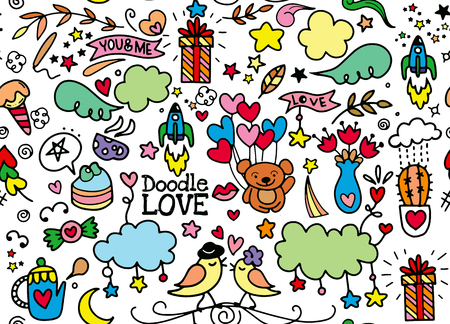cute Cartoon vector hand drawn Doodle Love illustration. Line art sketchy detailed design background with objects and symbols, seamless pattern