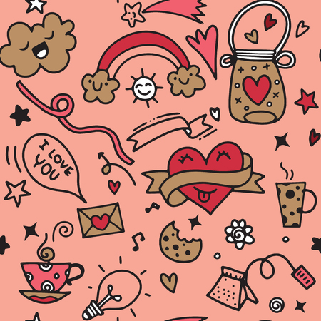 Valentines Day Love & Hearts Doodles Design Elements on Lined Sketchbook Vector Illustration, seamless pattern Çizim