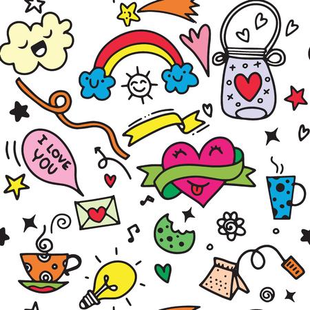 Valentine's Day Love & Hearts Doodles Design Elements on Lined Sketchbook Vector Illustration, seamless pattern 일러스트