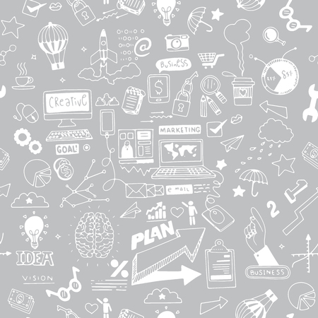 Business doodles Sketch set , infographics elements isolated, vector shapes. It include lots of icons included graphs, stats, devices,laptops, clouds, concepts and so on.seamless pattern Foto de archivo - 99121786