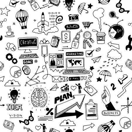 Business doodles Sketch set , infographics elements isolated, vector shapes. It include lots of icons included graphs, stats, devices,laptops, clouds, concepts and so on.seamless pattern