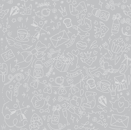 Valentine's Day Love & Hearts Doodles Design Elements on Lined Sketchbook Vector Illustration,seamless pattern