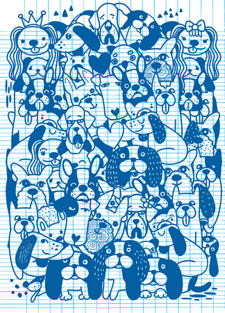 Hand Drawn Vector Illustration of Doodle Cute funny cartoon dogs  puppy pet characters different breads doggy illustration. Ilustração