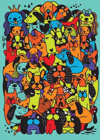 Doodle Cute funny cartoon dogs