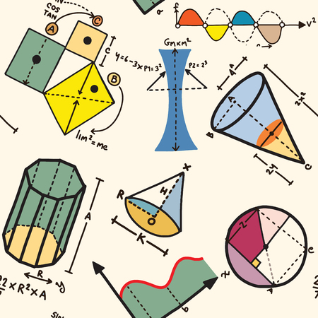 Different elements on the subject mathematics pattern Vettoriali