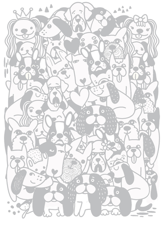 Hand Drawn Doodle Cute cartoon dogs