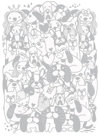 Hand Drawn Doodle Cute cartoon dogs