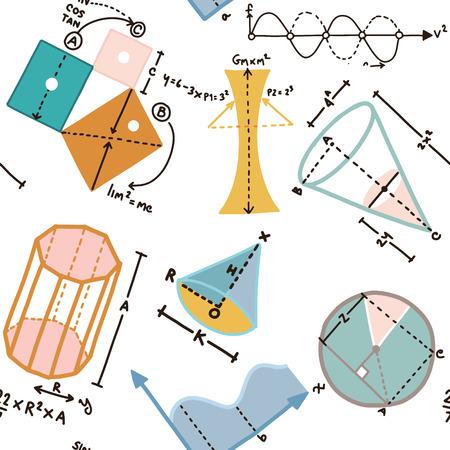 Different elements on the subject mathematics pattern 일러스트