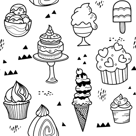 Pattern with hand drawn dessert in Scandinavian style