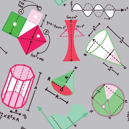 Different elements on the subject mathematics pattern Ilustração