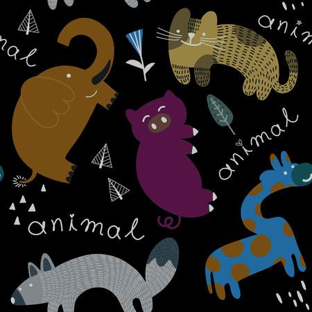 かわいい動物と手描きの形とシームレスな子供っぽいパターン。