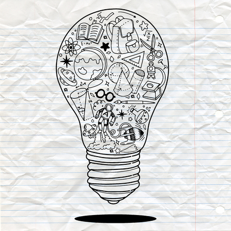 Vector illustration of Doodle Lightbulb ideas concept doodles icons set. Vector illustration.