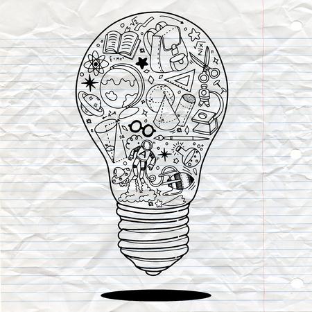 Vector illustratie van Doodle Lightbulb ideeën concept doodles pictogrammen instellen. Vector illustratie
