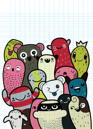 Vector illustration of Doodle cute Monster background ,Hand drawing Doodle with copyspace
