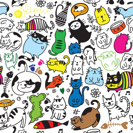 Vector seamless pattern with hand draw textured cats in graphic doodle style. endless background. 矢量图像