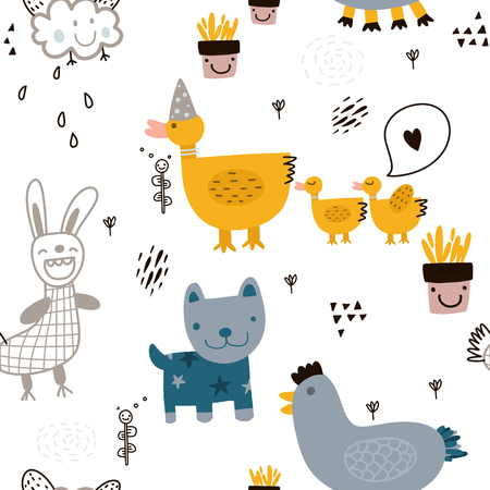 Seamless childish pattern with cute animal and hand drawn shapes.