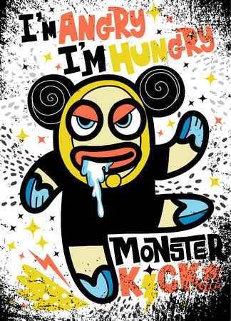 Angry monster look like bear be hungry. Vector illustration with flat style