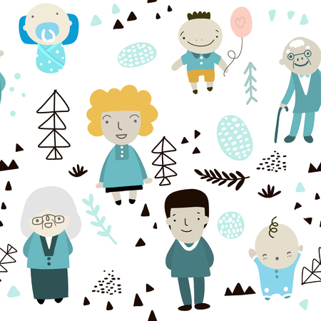 Seamless childish pattern with cute big family and hand drawn shapes. Creative kids texture for fabric, wrapping, textile, wallpaper, apparel. Vector illustration Ilustração