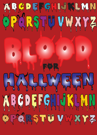 Halloween bloody alphabet isolated on  background. Horror scary drip blood font vector illustration