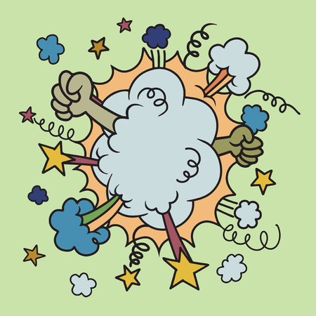 Battle Cloud,fight comics style. Hand drawn Clouds boom backgrounds, vector illustration