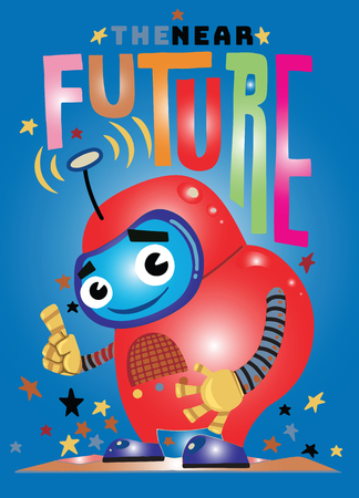 Funny vector robot , Robot character. Technology future. Cartoon vector illustration