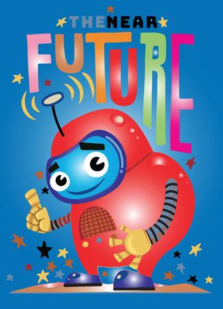 Funny vector robot , Robot character. Technology future. Cartoon vector illustration