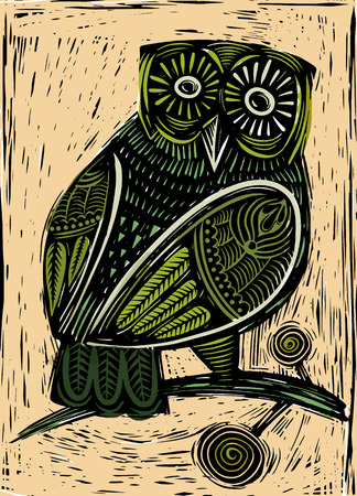 Hand Drawn Vector Illustration of  Owl woodcut  isolated vector illustration Banco de Imagens - 100643832
