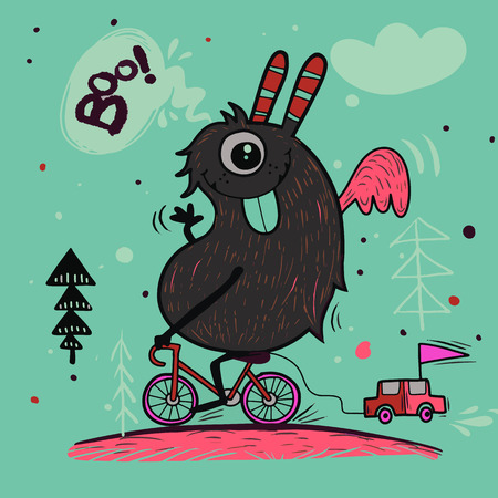 Hand Drawn Doodle monster on the bicycle design