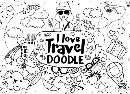 I love travel , Vector illustration of  travel doodles sketch icons Çizim