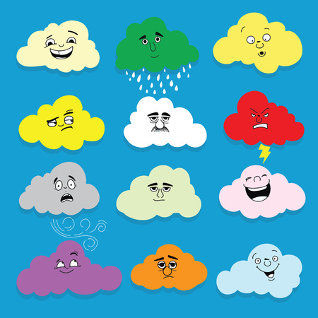 Clouds smile. Set of  hand drawn emoticons or smileys each with a different facial expression and emotion