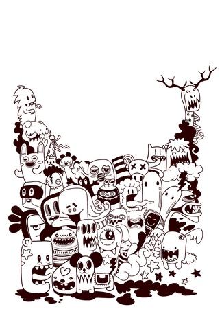 Hand drawn Monsters and cute alien friendly.vector illustration 版權商用圖片 - 100743903
