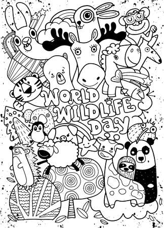 World Wildlife Day ,Hand Drawn Vector Illustration of Doodle funny animal, illustrator line tools drawing,Flat Design Illustration