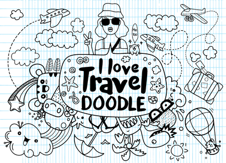 I love travel , Vector illustration of  travel doodles sketch icons Çizim